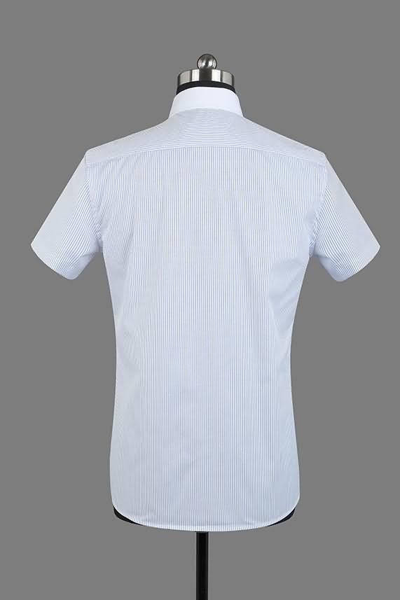 男士夏季蓝条纹短袖正规领衬衫背面图片