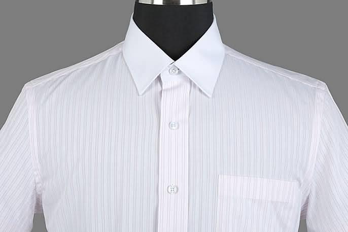 男士粉条纹竹绸纺短袖正规领衬衫门襟图片