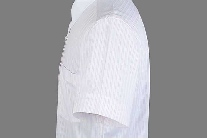 男士粉条纹竹绸纺短袖正规领衬衫侧面图片