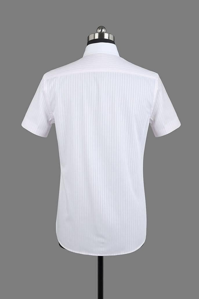 男士粉条纹竹绸纺短袖正规领衬衫背面图片
