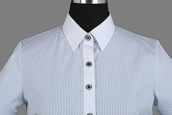 女士夏季蓝条纹短袖正规领衬衫门襟图片