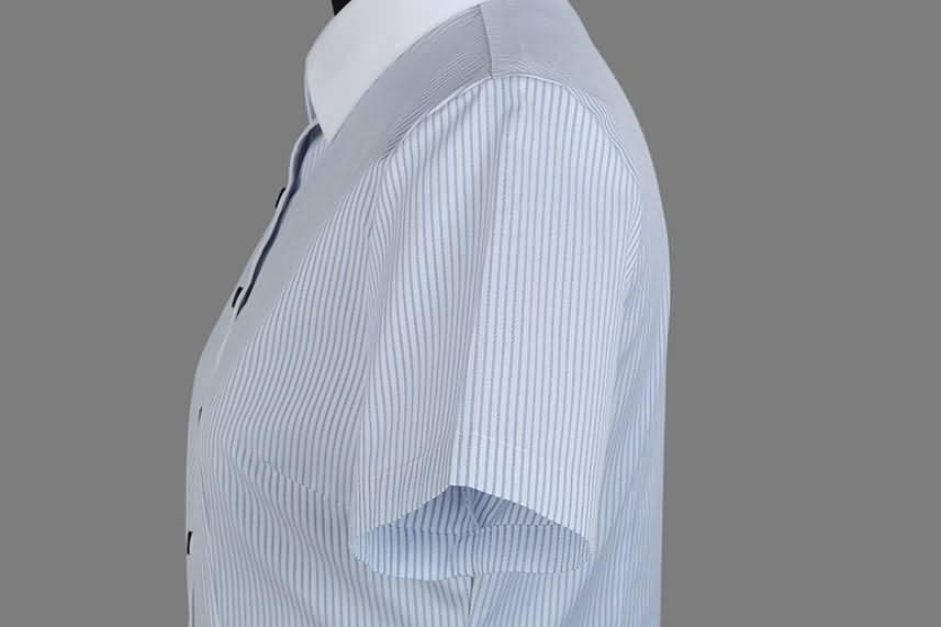 女士夏季蓝条纹短袖正规领衬衫侧面图片