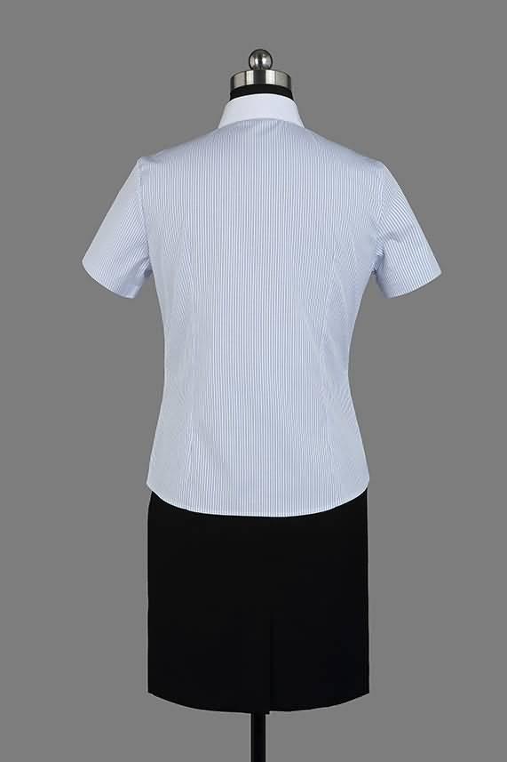 女士夏季蓝条纹短袖正规领衬衫背面图片
