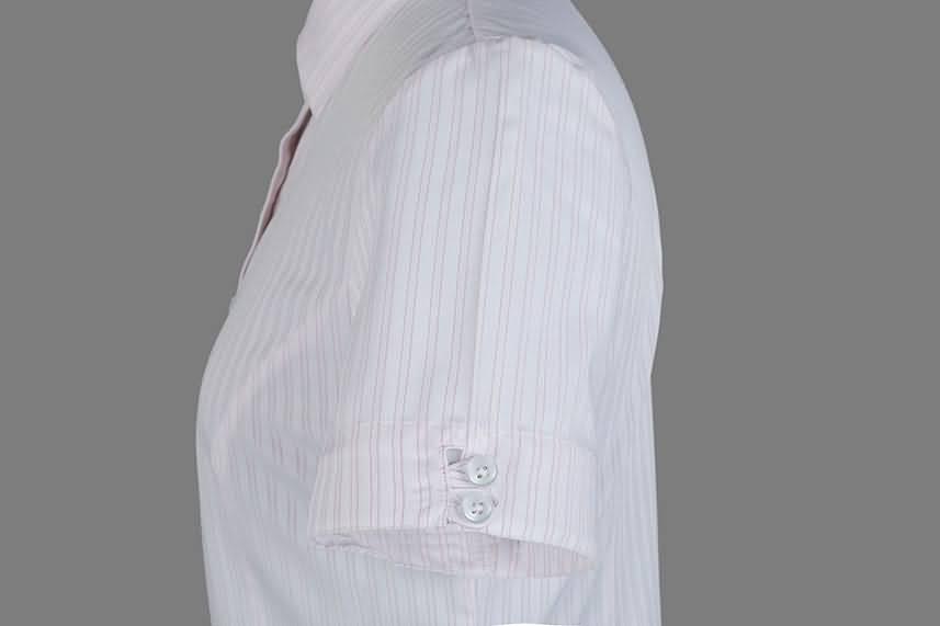 女式粉条纹竹绸纺短袖正规领衬衫侧面图片
