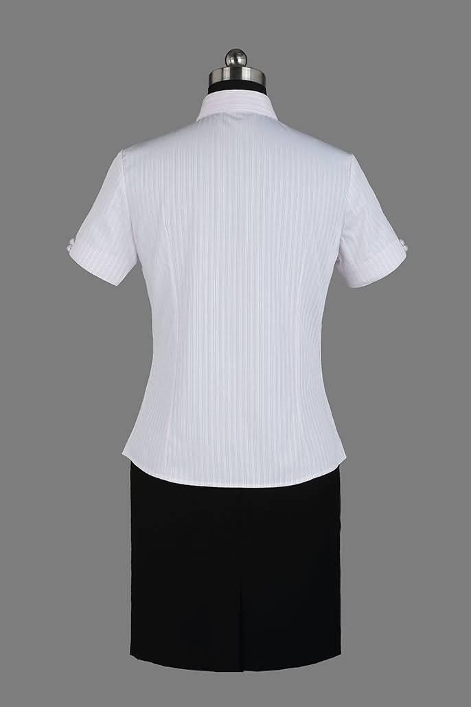 女式粉条纹竹绸纺短袖正规领衬衫背面图片