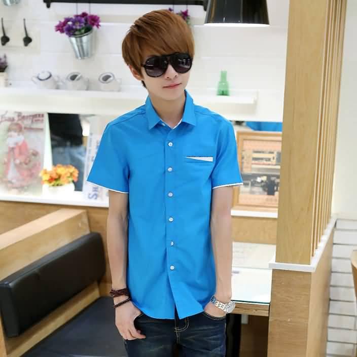 湖蓝色男士半袖衬衣