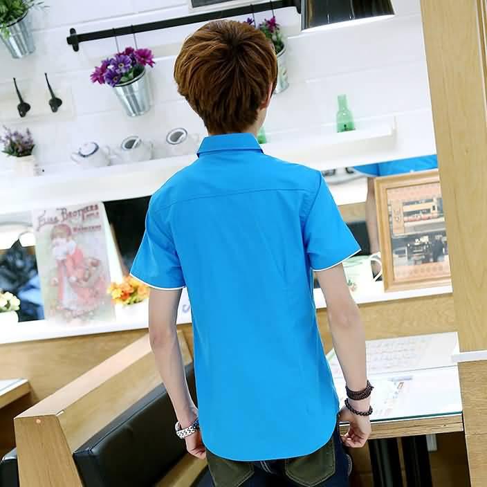 湖蓝色男士半袖衬衣背面图片