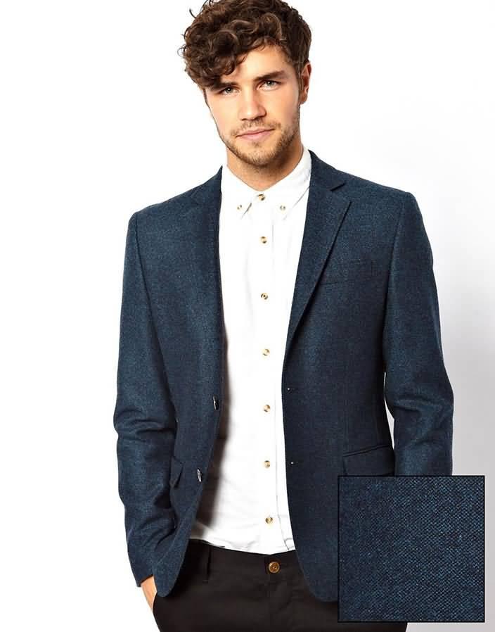 浅蓝色双粒扣男士休闲西服上衣正面图片