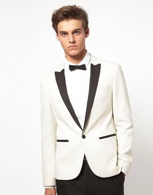 白色男士拼接领酒会礼服西服正装上衣