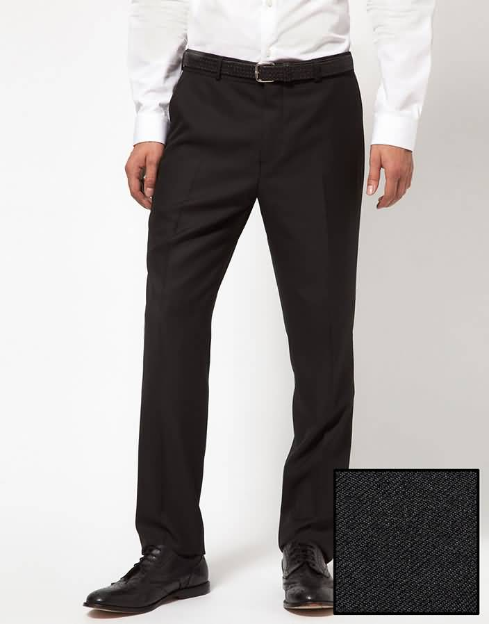白色男士拼接领酒会礼服西裤