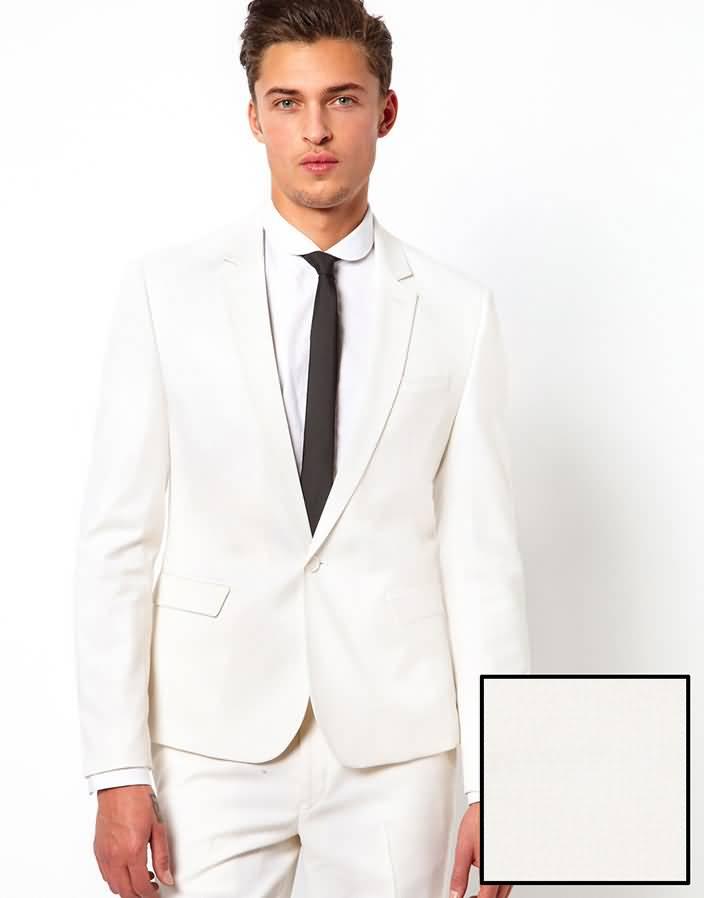 白色平驳领结婚西装套装男士礼服上衣