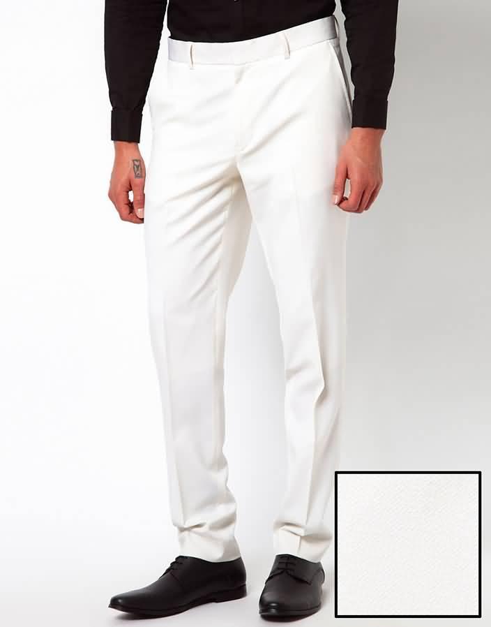 白色平驳领结婚西服套装西裤