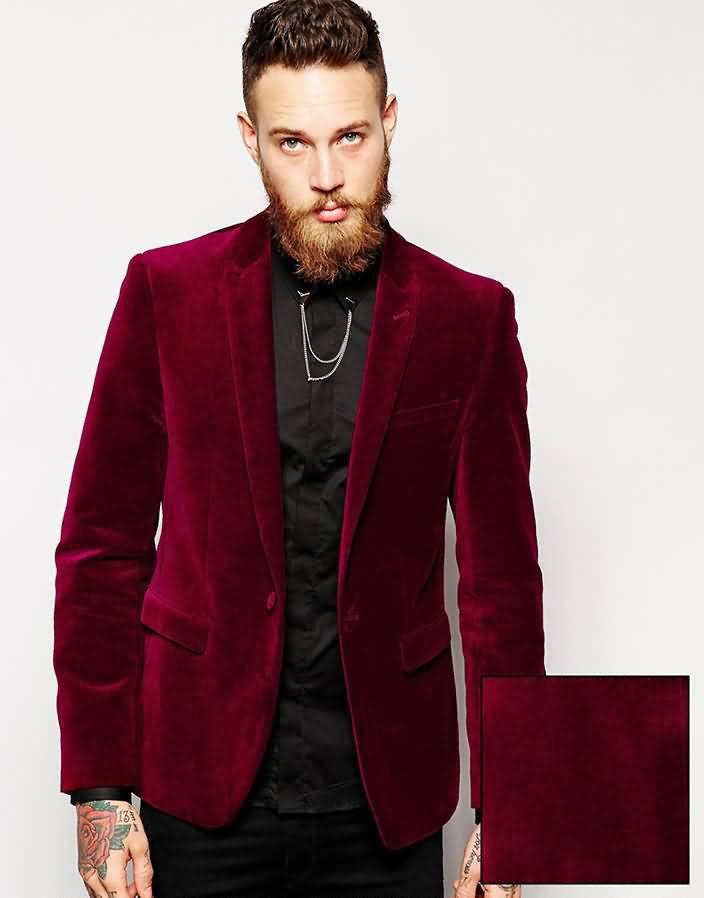 酒红色羊毛绒男士西服上衣时尚单西正面图片