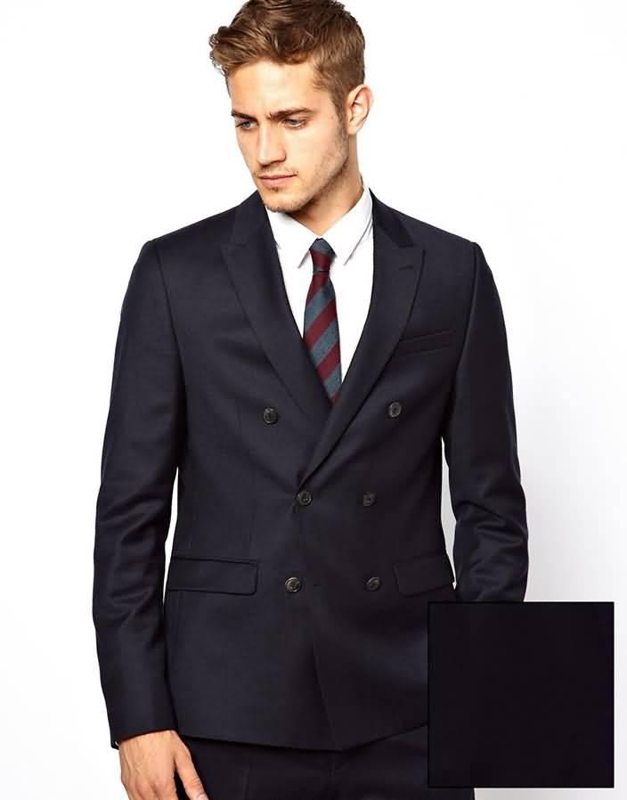 英伦时尚男士藏蓝色双排六粒扣西服上衣图片