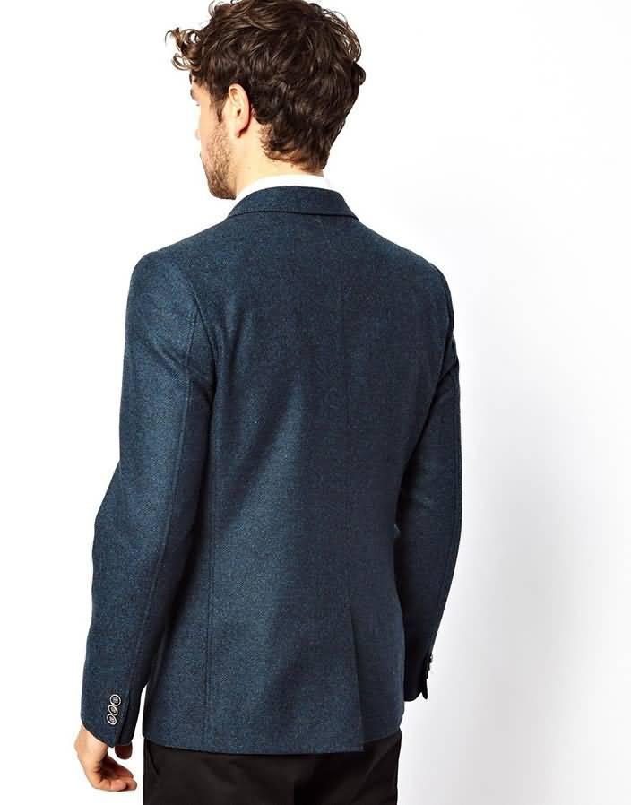 浅蓝色双粒扣男士休闲西服上衣背面图片