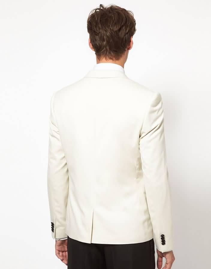 白色男士拼接领酒会礼服西服正装上衣背面图片