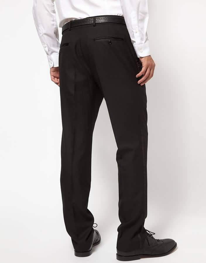 白色男士拼接领酒会礼服黑色西裤背面图片