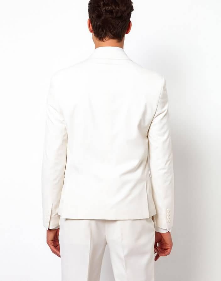 白色平驳领结婚西装套装男士礼服上衣背面图片