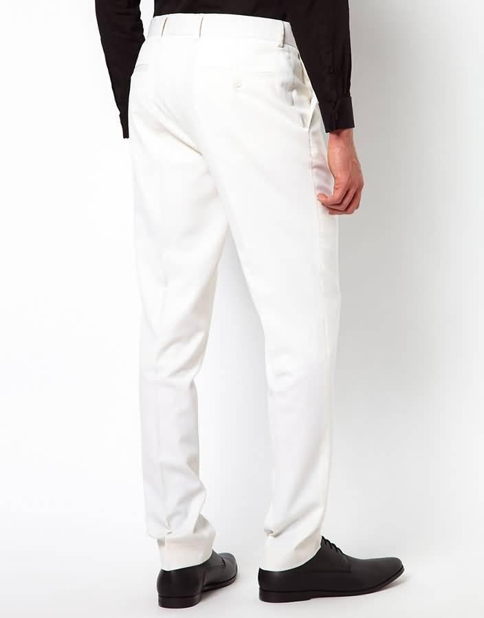 白色平驳领结婚西服套装西裤背面图片