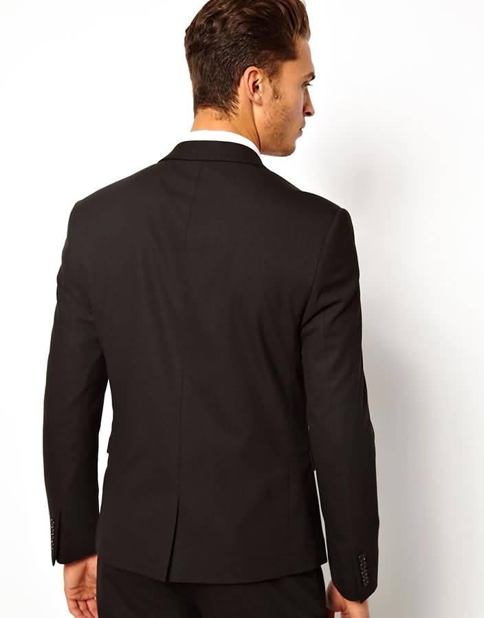 黑色西服套装商务西装上衣背面图片