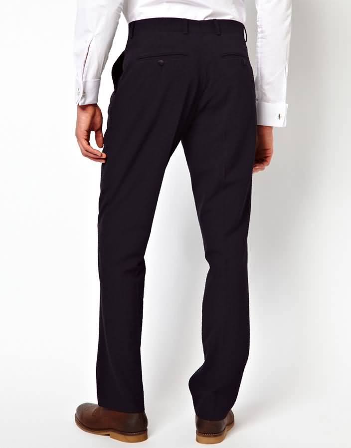 黑色西服套装商务西装下身西裤背面图片