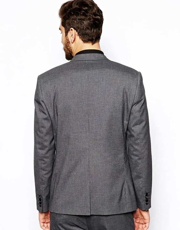 韩版灰色单粒扣男士西装套装职业装上衣背面图片