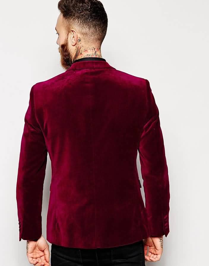 酒红色羊毛绒男士西服上衣时尚单西背面图片
