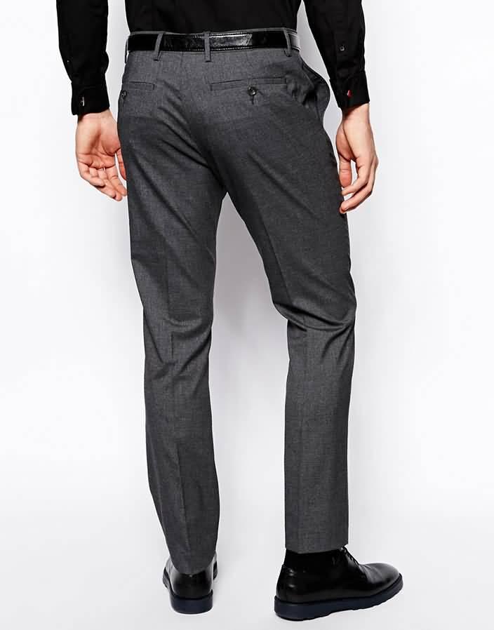 韩版灰色单粒扣男士西裤背面图片