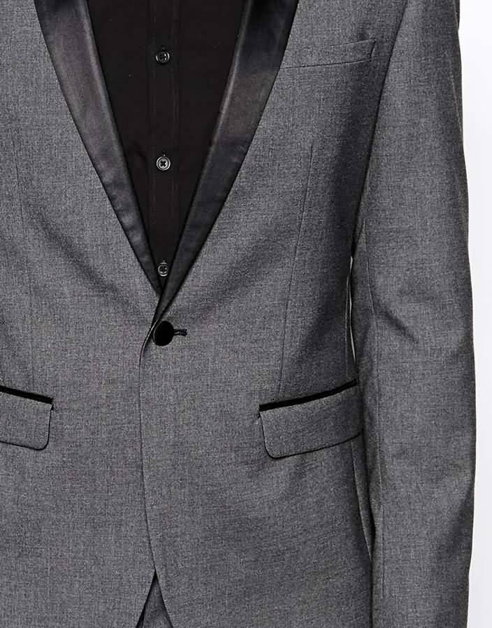 韩版灰色单粒扣男士西装套装职业装上衣门襟细节