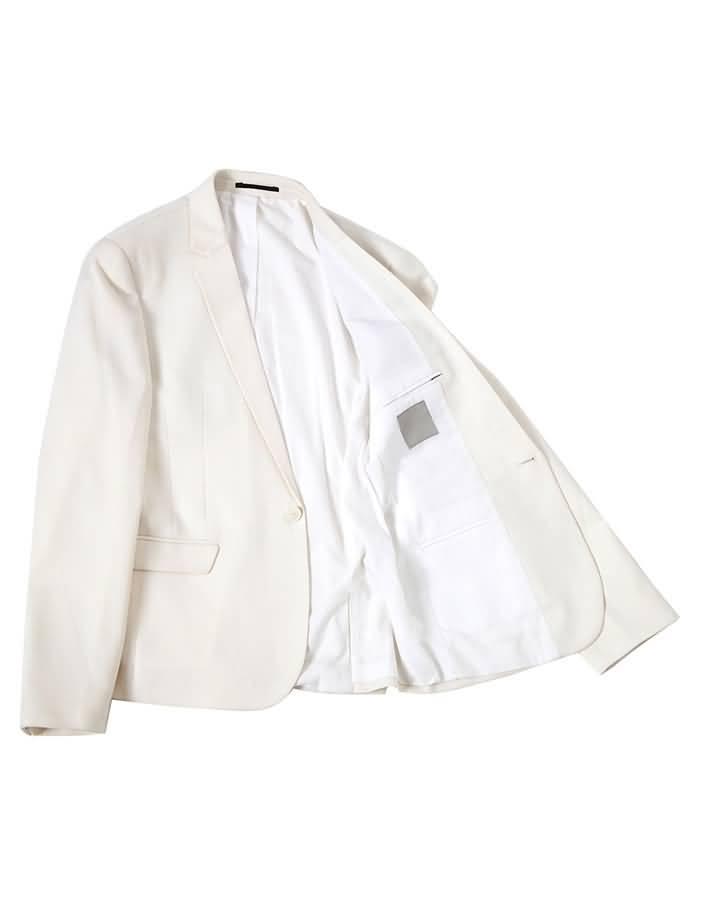 白色平驳领结婚西装套装男士礼服上衣平铺图片