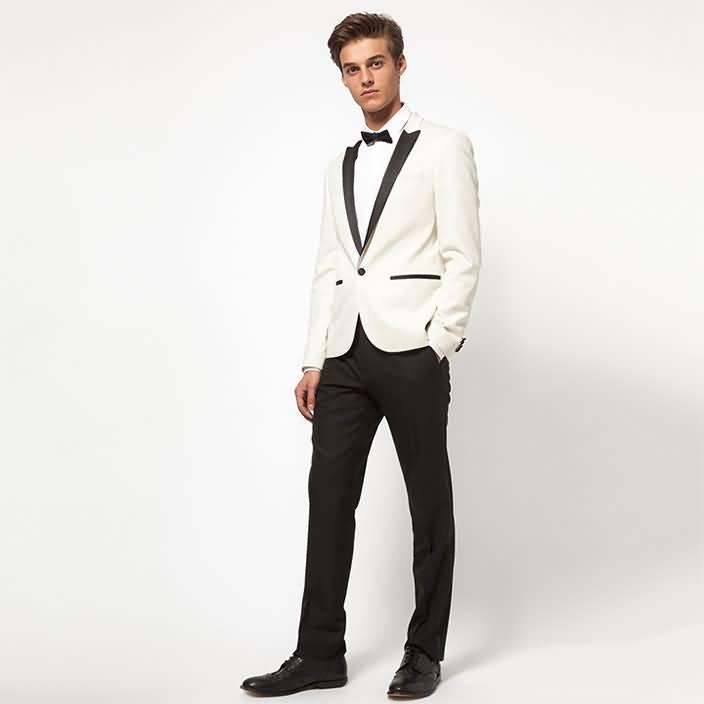 2015白色拼接领男士礼服西服正装