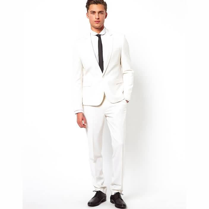 白色平驳领结婚西装套装男士礼服