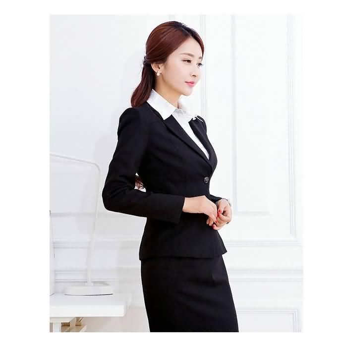 黑色经典韩版商务长袖女士职业装套裙侧面图片