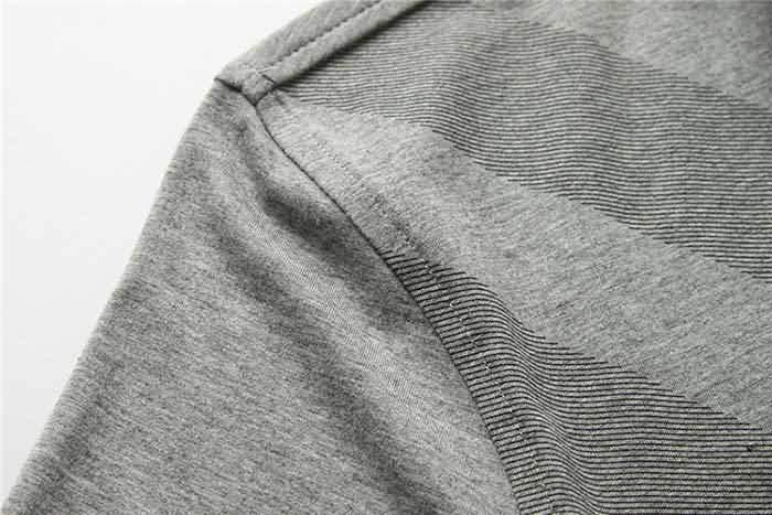 男士烟灰色T恤衬衫肩部细节图片