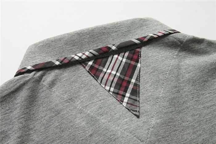 男士烟灰色T恤衬衫领部背面细节图片