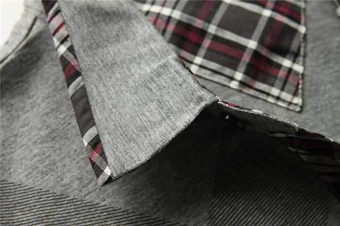 男士烟灰色T恤衬衫领部细节图片