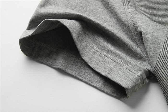 男士烟灰色T恤衬衫袖口细节图片