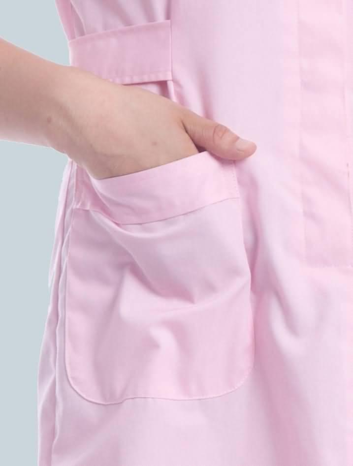 粉色护士服夏装短袖药店工作服口袋图片
