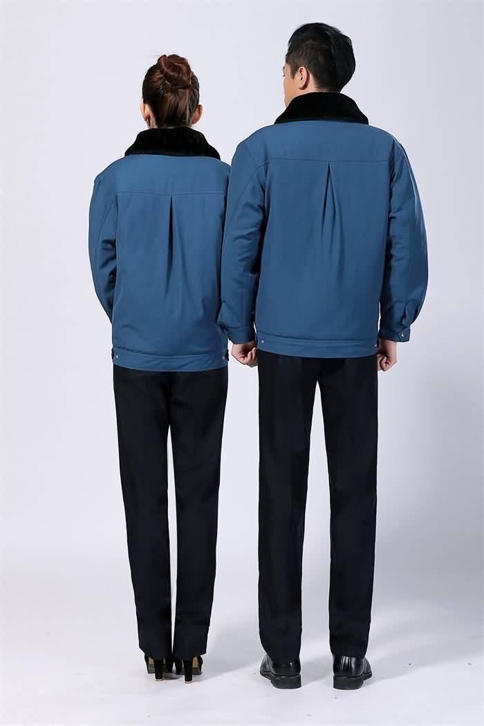 蓝色冬季工作服外套背面图片