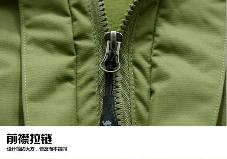 果绿色冲锋衣门襟细节图片