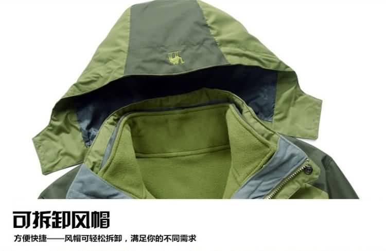 果绿色冲锋衣防风帽细节图片