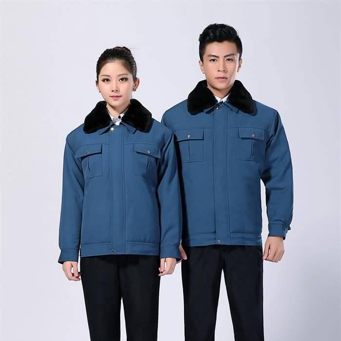 化肥厂蓝色冬季工作服外套