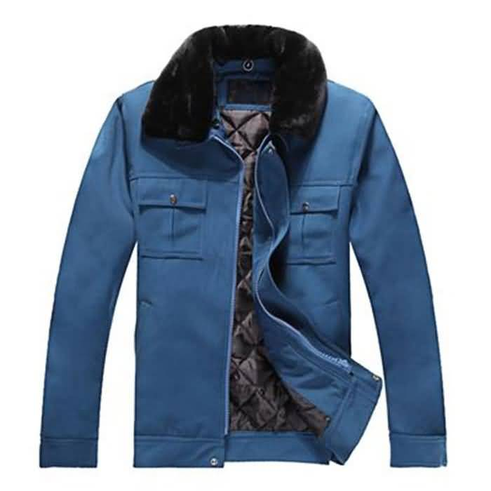 蓝色冬季工作服外套图片