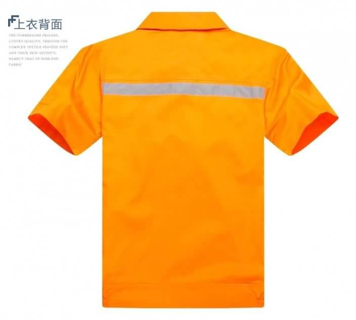 短袖户外反光条夏装环卫工作服背面图片