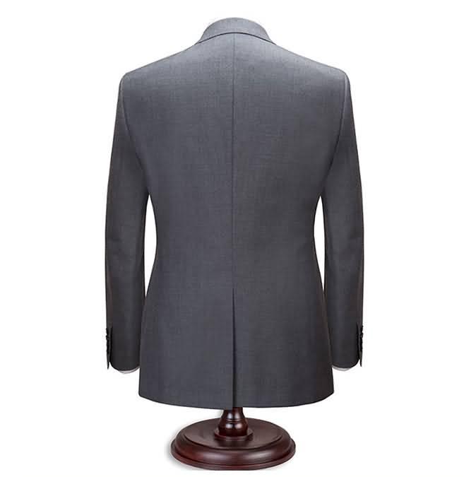2015男士商务正装修身羊毛灰色西服背面图片