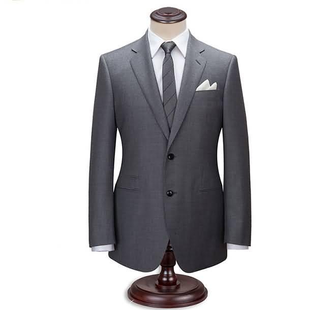 2015男士商务正装修身羊毛灰色西服正面图片