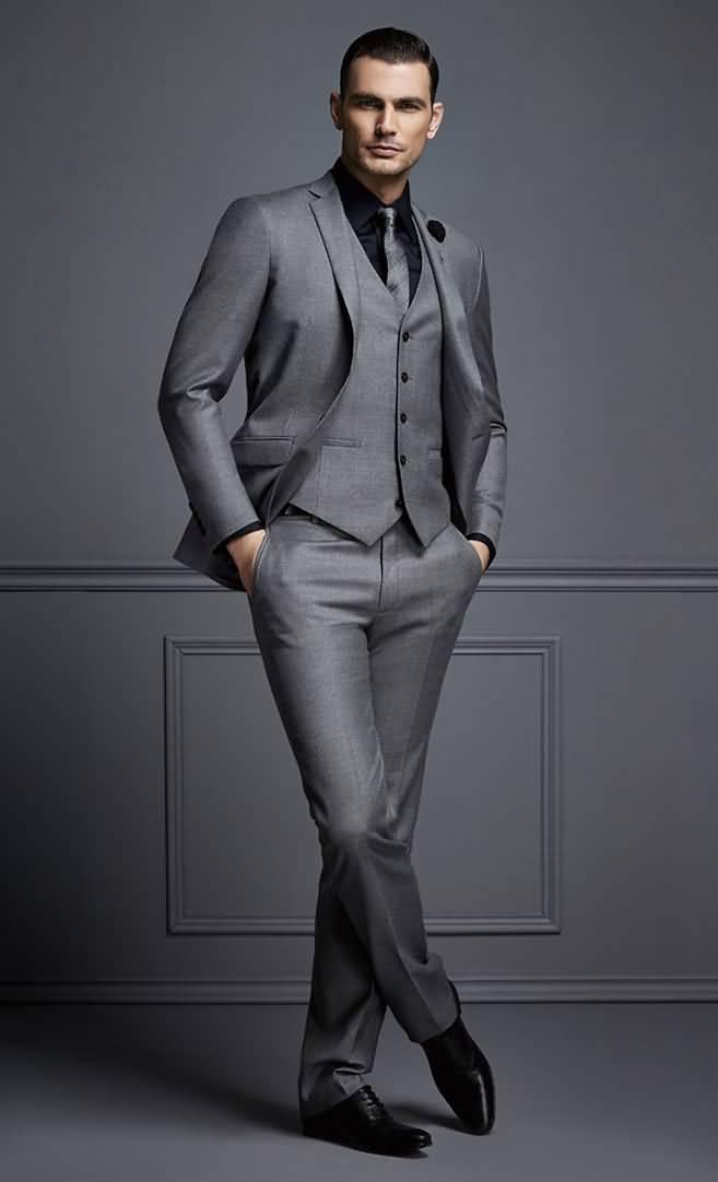 2015男士商务正装修身羊毛灰色西服