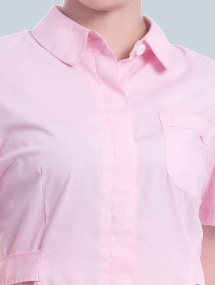 粉色护士服夏装短袖药店工作服前门襟暗扣设计