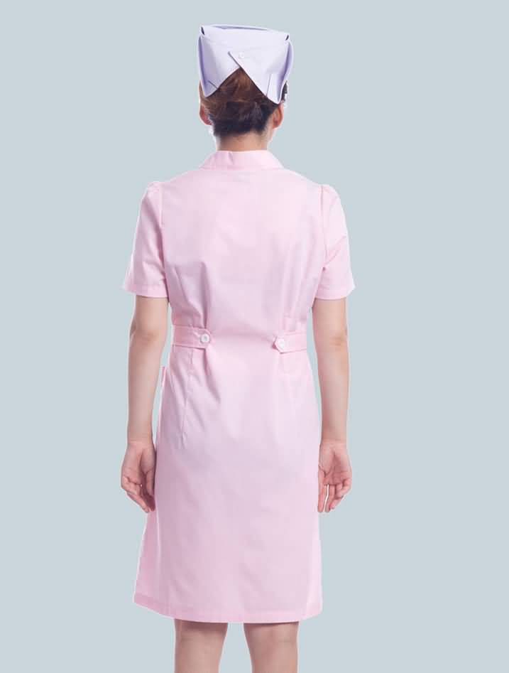粉色护士服夏装短袖药店工作服背面图片