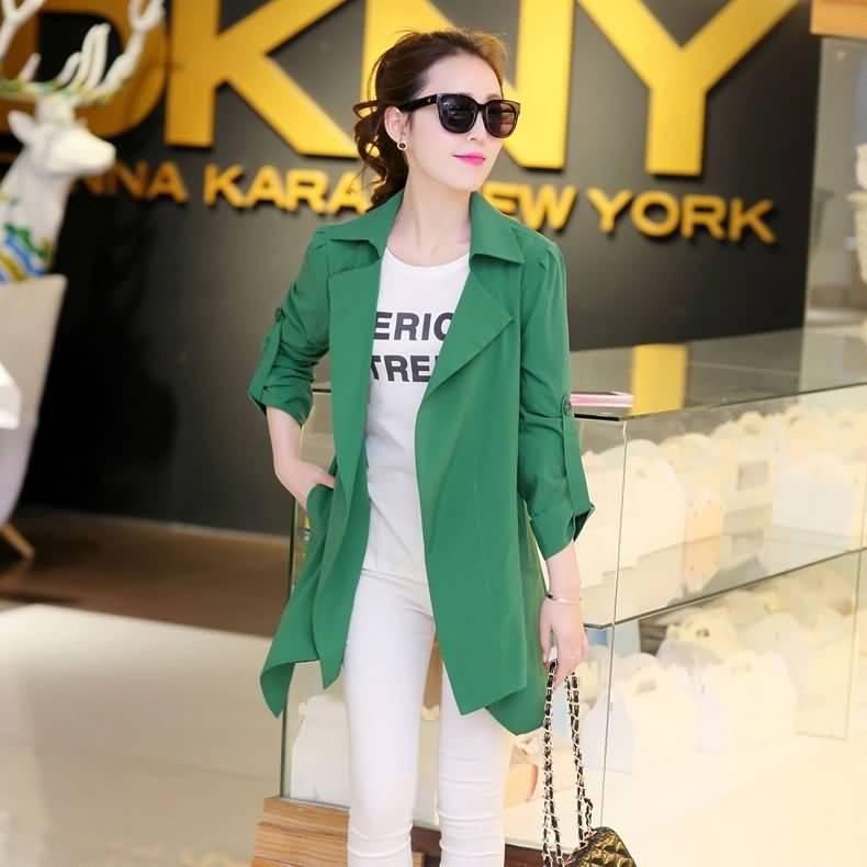 青春绿色女式时尚风衣外套